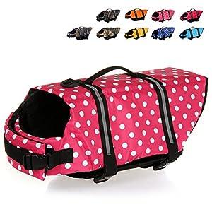 HAOCOO Dog Life Jacket Vest Saver Safety Swimsuit Preserver with Reflective Stripes/Adjustable Belt for All Size Dogs?Pink Polka Dot,XXL