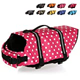 HAOCOO Dog Life Jacket Vest Saver Safety Swimsuit Preserver with Reflective Stripes/Adjustable Belt for All Size Dogs?Pink Polka Dot,XL