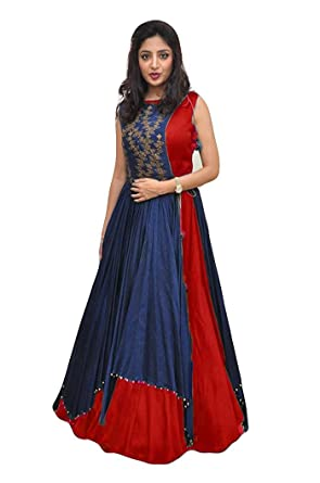 Unick Women s Heavy Banglori Silk Jacket Style Semi-stitched Red and Blue  Floor Length Gown-Dresses (Twenty Red Free Size)  Amazon.in  Clothing   ... 68b32b064