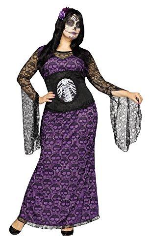 Halloween La Muerte Costume (Fun World Women's Plus Size LA Muerte Costume, Multi, X-Large)