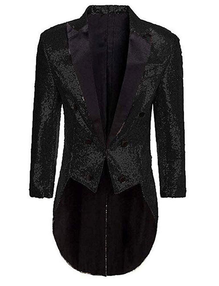 Mens Sequins Tailcoat Tuxedos Prom Party Jacket Perfermance Costume Blazer Dinner Coat