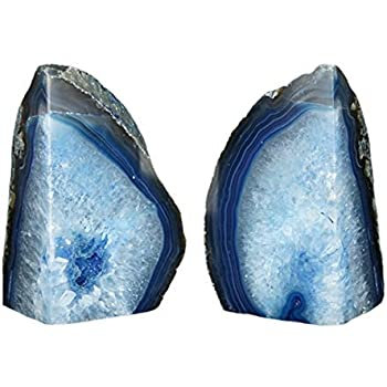 JIC Gem 3 to 4 Lbs Agate Bookends Dyed Blue Polished 1 Pair with Rubber Bumpers for Office Décor and Home Decoration
