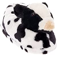 Image of Black and White Cow Slippers
