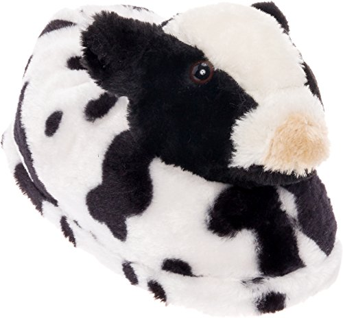 Silver Lilly Cow Slippers - Plush Animal Slippers w/Comfort Foam Support (Black & White, M) (Slipper Silver)