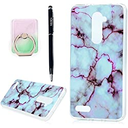 YOKIRIN ZTE Zmax Pro Case,ZTE Carry Case,Marbling Style IMD Design Slim Fit Soft TPU Rubber Shockproof Protective Cover for ZTE Zmax Pro/Carry Z981 with Ring Stand Holder & Stylus Pen,Purple White