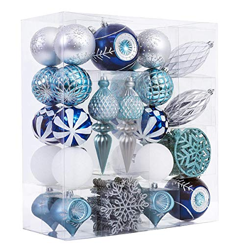 (Valery Madelyn 70ct Winter Wishes Blue Silver Shatterproof Christmas Balls Ornaments,3.15inch-7.68inch /8CM-19.5CM,70 Pcs Metal Hooks Included,Themed with Tree Skirt(Not Included))