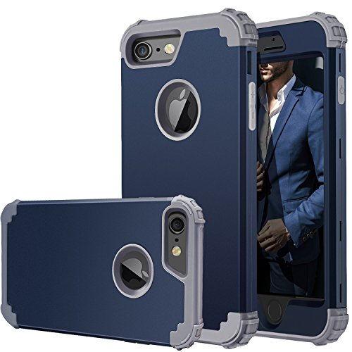 iPhone 6 Case,iPhone 6s Case,Fingic Full-Body Cover 3 in 1 Hybrid Hard PC & Soft Silicone Heavy Duty Rugged Bumper Shockproof Protective Phone Case for iPhone 6/6S (4.7 inch),Navy Blue+Gray - Blue Hybrid Case