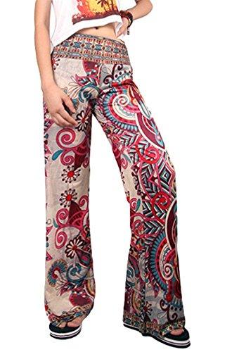 Waist Tempo Pantalone Stoffa Lunga Pantaloni Accogliente Donna Ragazza Pantaloni 7 Eleganti High Libero Abbigliamento Chic Larghi Colour Estivi Stampato Pantaloni Palazzo Di Fxpzx0