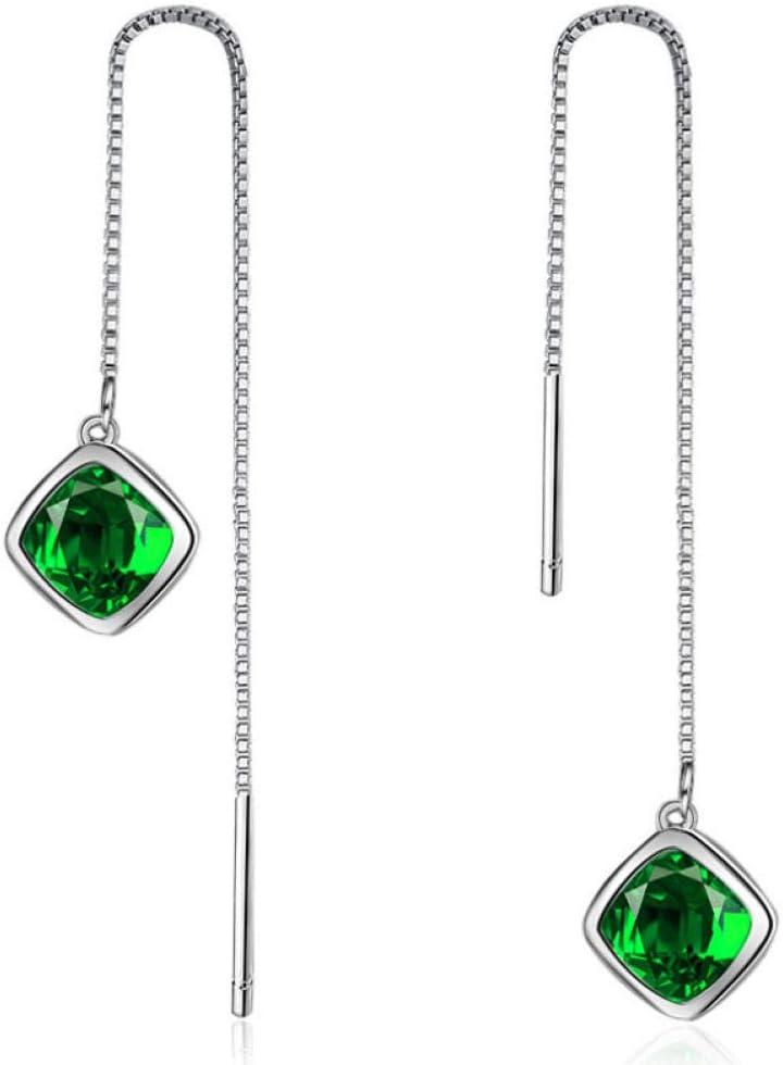 Nobranded Pendientes de Cadena Pendiente de Cristal Verde para Mujer Joyería de Moda