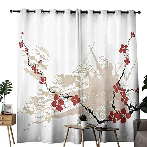 Flower House Decor Insulated Curtains Illustration of Sakura Flowers on Grunge Background with Light Pastel Colors Wedding Party Home Window Decoration W72 xL84 Tan White and Ruby