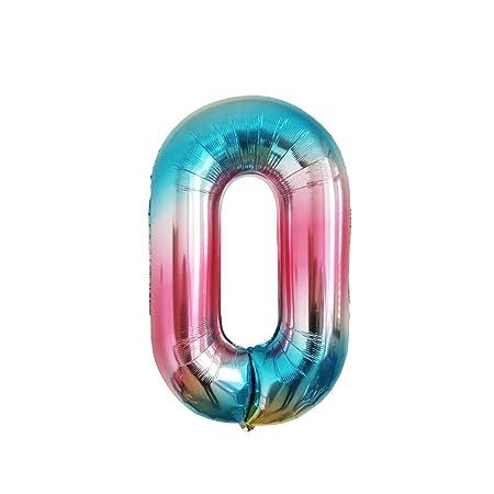 Amosfun Número Gigante 0 Globos Coloridos Número Foil Globos ...