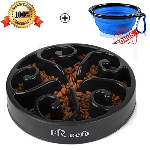 Freefa Slow Feeder Bloat Stop Food Maze Interactive Puzzle Non Skid, Come with Free Travel Bowl (Black, for Medium Dog and Puppy)