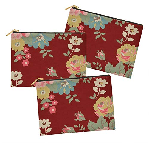 S4Sassy Red Leaves,Rose & Narcissus Anemone Floral Pack of 3 Printed Make Up Cosmetic Bag Coin Purse Toiletry Organizer-6 x 8 Inches ()