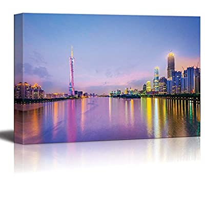 Guangzhou China City Skyline Cityscape on The Pearl River in The Evening - Canvas Art Wall Art - 32