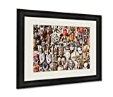 Ashley Framed Prints Old African Masks For Sale At Market In Nairobi Kenya Africa Wall Art Decor Giclee Photo Print In Black Wood Frame, Soft White Matte, Ready to hang 16x20 art