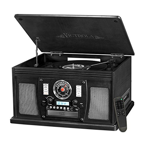 Victrola Nostalgic Aviator Wood 8-in-1 Bluetooth Turntable Entertainment Center, Black