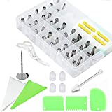 BTMB 62 Pcs Cake Decorating Supplies Kit Cake Cupcake Baking Tools with Stainless Steel Tips, Silicone Pastry bags, Couplers, Sealing Clips, Scrapeers, Flower Nail