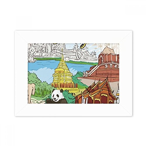 DIYthinker Thailand Chiang Mai Panda Temple Desktop Photo Frame White Picture Art Painting 5x7 inch by DIYthinker