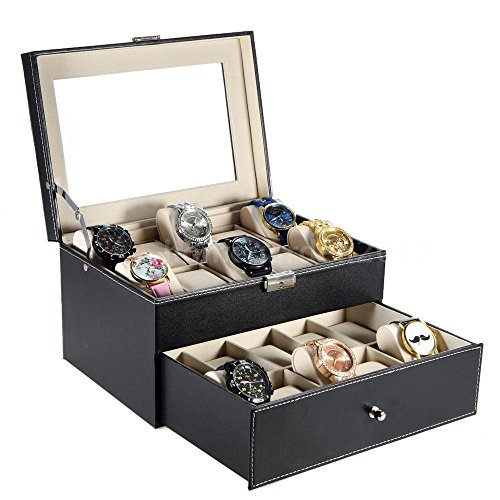 [Product Display Luxury Storage Box Design Collection Item Case 10+10 Slot 2 Layers 1x Key Suiatble for Home Table Decoration, Watches, Jewelry, Great Gift Idea Men/Women, etc. BTX2S4] (Hinged Recipe Box)
