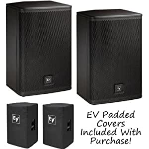 ev electro voice elx112p 12 active powered dj pa speakers pair ev padded covers. Black Bedroom Furniture Sets. Home Design Ideas