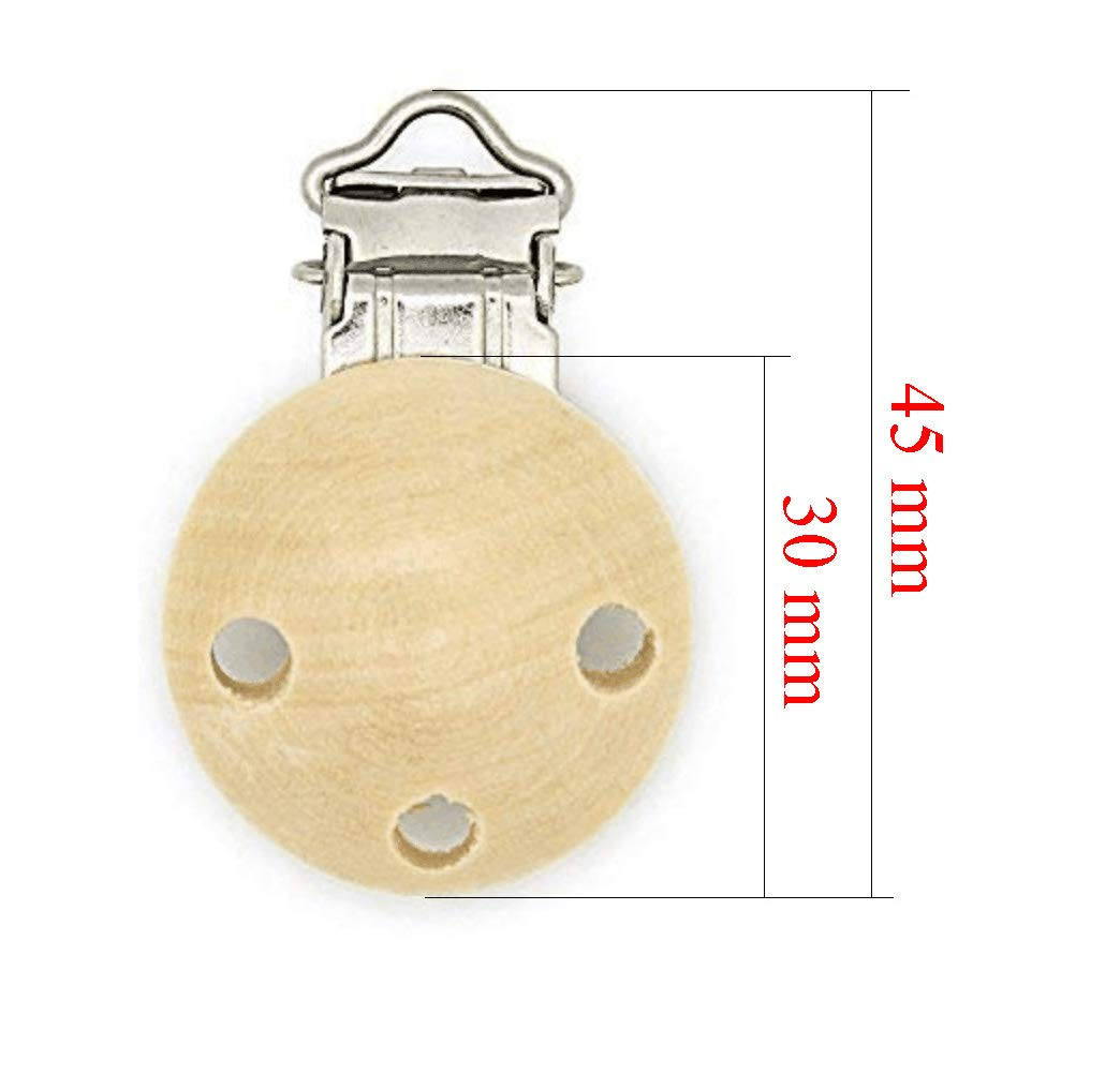 Schnuller Clip 10 St/ück Schnullerclip mit L/öchern aus schadstofffreiem Holz Nuckelclip Baby Clip f/ür Schnullerkette Schnuller