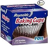 reynolds baking cups jumbo - Reynolds Baking Cups, Foil, Jumbo, 3 1/2 In (3 Pack- 72 Count)