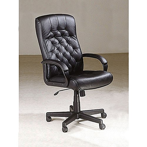 ACME 02170 Charles Exec Chair W/Pneumatic Lift, Black Genuine Leather - Exec Chair
