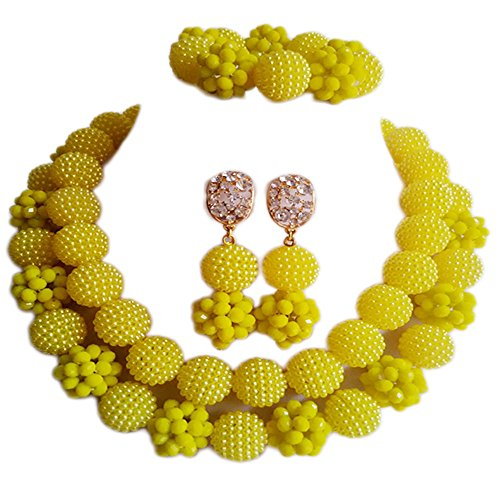 Nigerian Wedding African Beads Opaque Yellow Bridal Jewelry Sets (Custom Costume Jewelery)