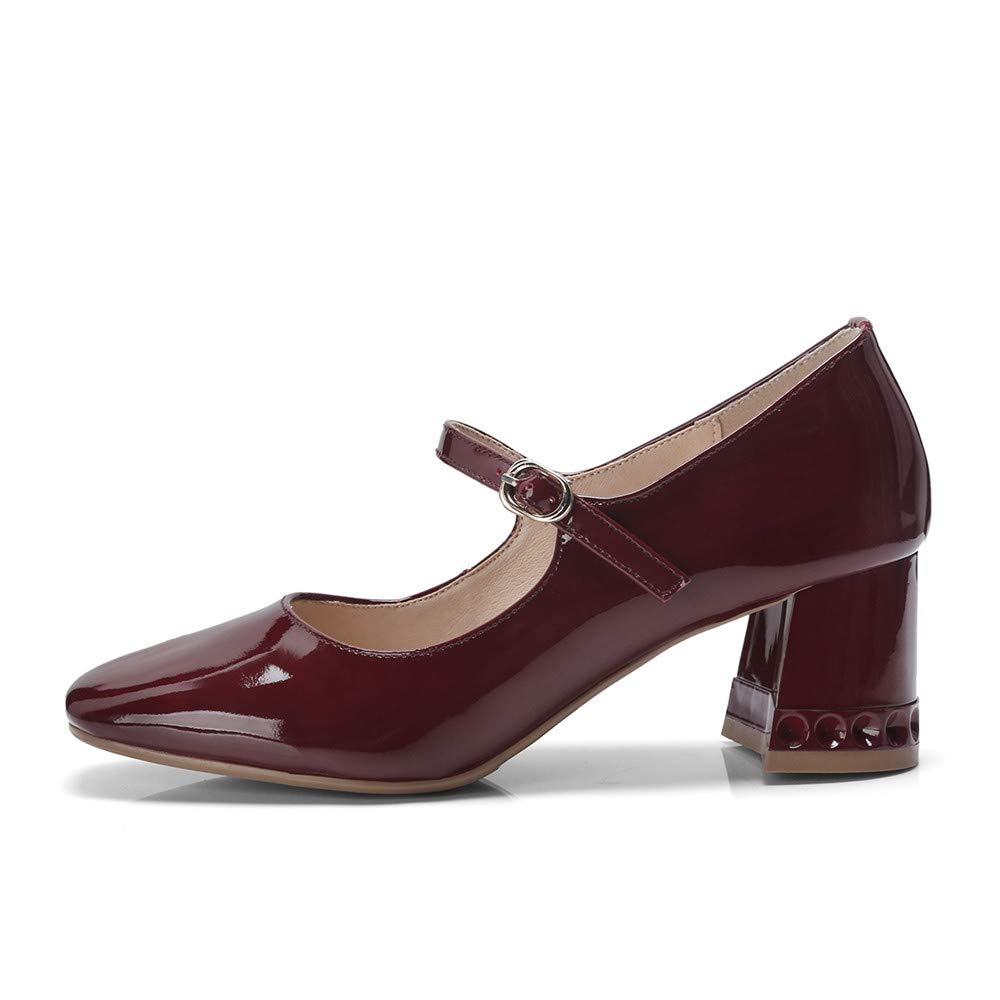 Nine Seven Womens Patent Leather Square Toe Chunky Heel Handmade Glossy and Comfortable Pumps Shoes