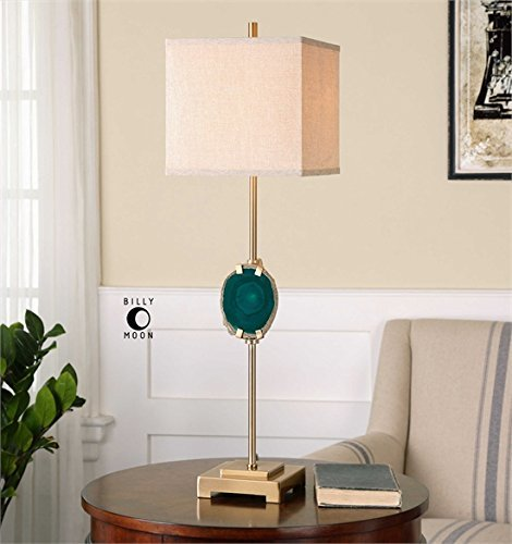 Ambient Metal Base Finished In A Plated Brushed Brass Displaying A Cut Slab Of Emerald Agate Stone The Natural Stone Will Vary Slightly In Color And Shape Emerald Agate Buffet Lamps - Natural Agate Table Lamp