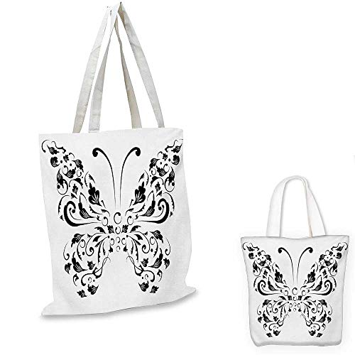 Butterfly non woven shopping bag Silhouette of Moth with Swirl Floral Blossom Line Spirit Animal Illustration fruit shopping bag Black and White. 16