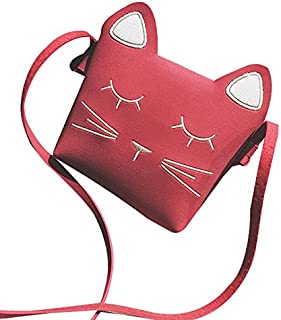 SODIAL Borsa a tracolla con tracolla a forma di borsetta da bambina per bambini - ROSSO