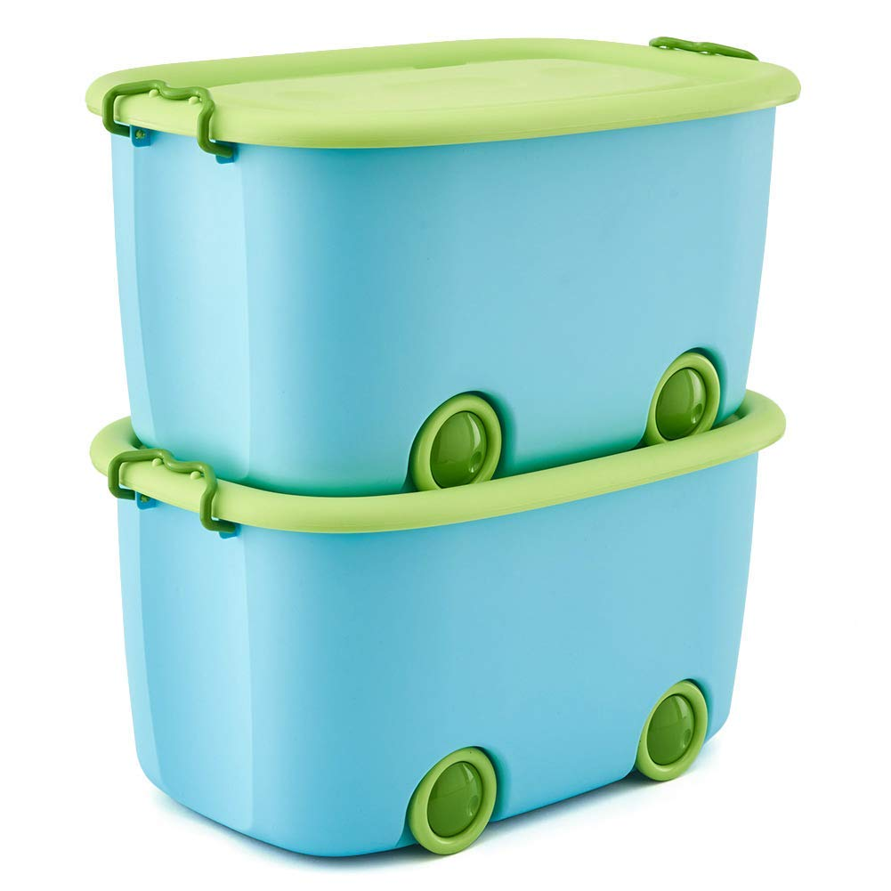 EZOWare Toy Chest Set of 2 Large Plastic Stackable Organizer Storage Box Container Bin with Lid and Wheels for Kids Toys, Clothes - Blue and Green