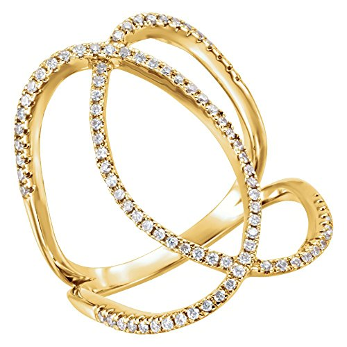 (Bonyak Jewelry 14k Yellow Gold 3/8 CTW Diamond Freeform Ring - Size 7)