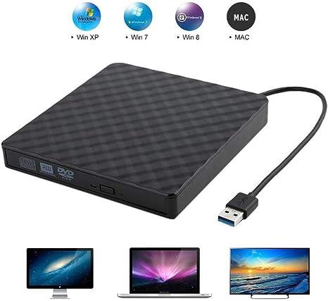 Grabadora DVD/CD Lector, QueenDer Unidad DVD Externa USB 3.0 Reproductor CD/ DVD ROM RW y Portatil PC Lector Optico Externo Compatible con Windows10/8/8.1/7/XP/Mac os con PC/Notebook-Negro: Amazon.es: Electrónica