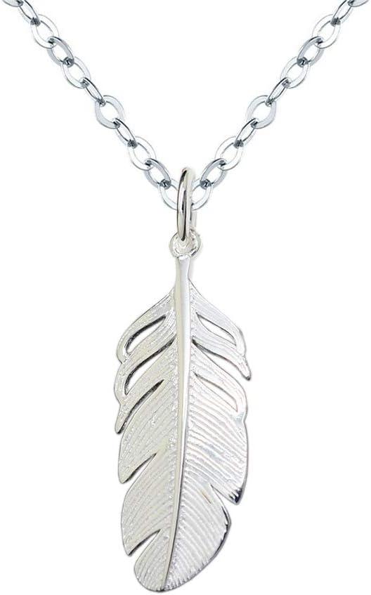 Collar Mujer Plata de Ley 925 Colgante de pluma Cadena 40+5cm Longitud Colgante Collar para Mujer: Amazon.es: Grandes electrodomésticos