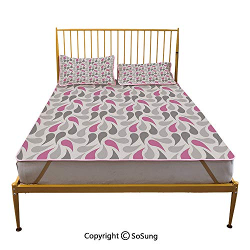 Geometric Creative King Size Summer Cool Mat,Persian Civilization Influenced Geometric Pattern Teardrop Shapes Curved Tip Decorative Sleeping & Play Cool Mat,Pink Grey White