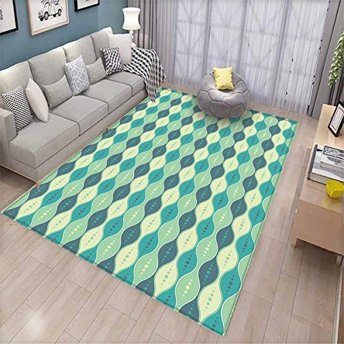 Geometric Bath Mats for Floors Retro Pattern Dotted Design Oval Abstract Shapes Symmetrical Door Mat Indoors Bathroom Mats Non Slip Pale Green Teal Cadet Blue