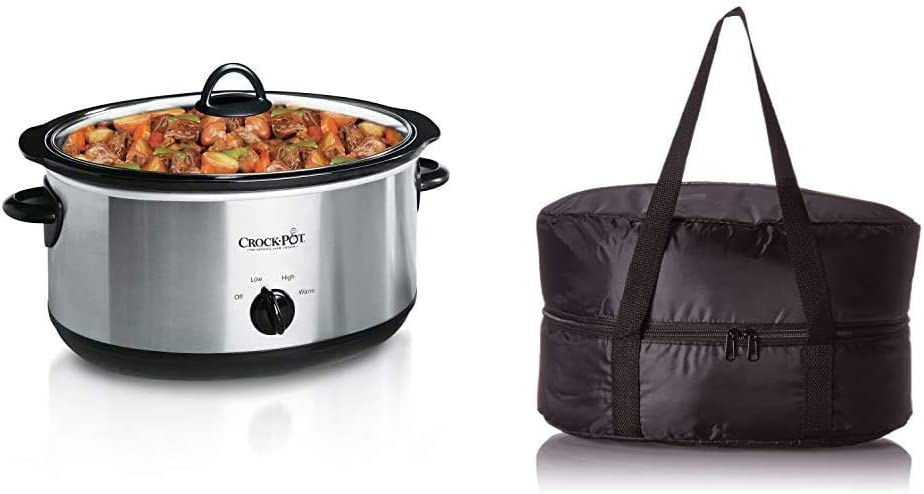Crock-Pot 7-Quart Oval Manual Slow Cooker | Stainless Steel (SCV700SS) & Travel Bag for 4-7-Quart Slow Cookers, Black