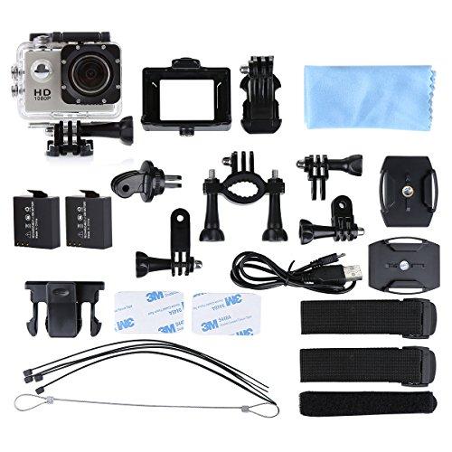Helmkamera, CCbetter CS710 wasserdichte Action Kamera Fahrrad mit 120 Grad Weitwinkel 12MP HD DVR Auto Recorder Wasserdicht Camcorder + 2 AKKU(Grau)