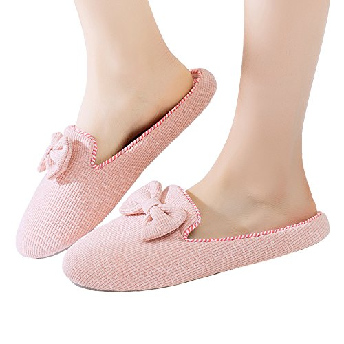 Thgonwid Womens Cotton Cozy Bow Knot Indoor Slippers Non Slip Memory Foam House Shoes Pink e5s8pIJczn