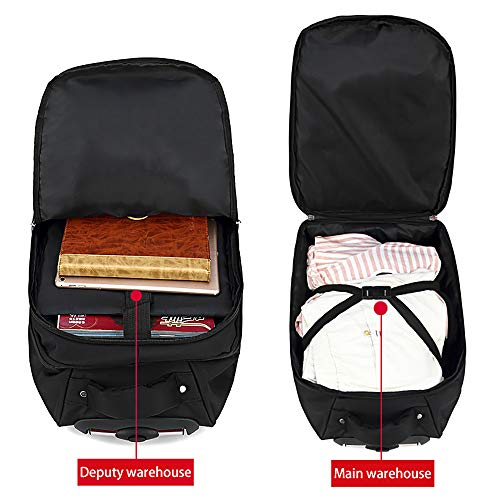 """Black 19/"""" Rolling Carry-on Luggage Travel Duffel Bag for Men,TSA Checkpoint Friendly Wheeled Backpack"""