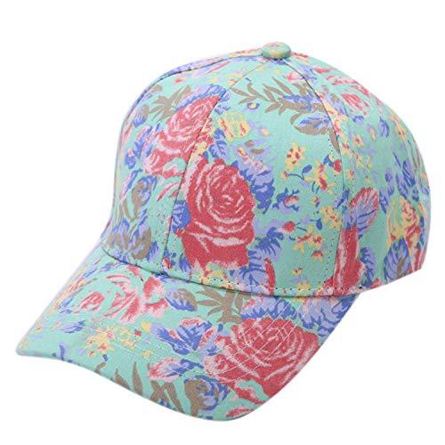 夏 女性 花 プリント野球のキャップ ヒップホップの帽子フラット 調節可能な コットンキャップ,緑,ドイツ
