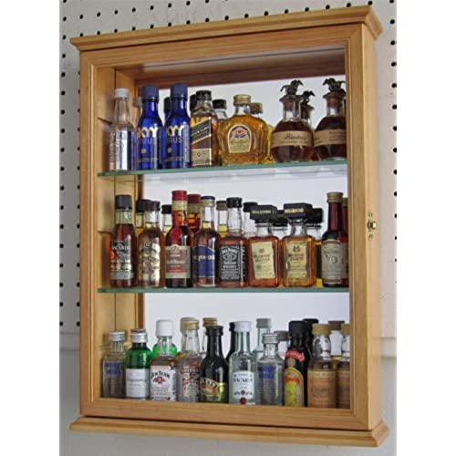 DisplayGifts Small Wall Mounted Curio Cabinet Shadow Box, Glass Door,  Mirror Background, Solid Wood   Oak Finish (CD06 OA)