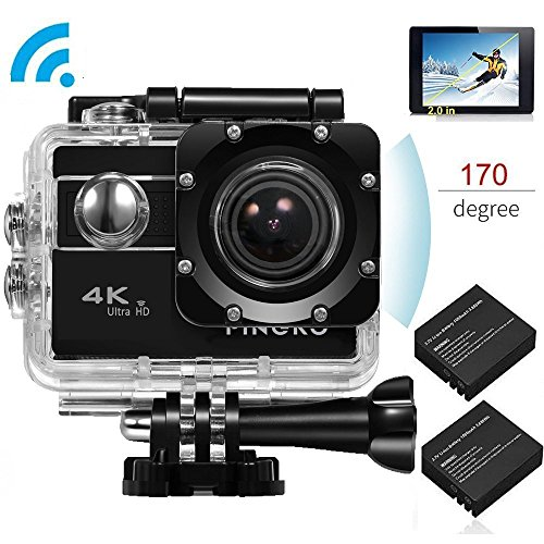 PINGKO Ultra HD 4K Waterproof Sport Action Camera,Sony Sensor WiFi 1080P 120fps HDMI 20MP+Dual 1050mAh Batteries with 2.0 Inch LCD Screen 170 Degree Wide Angle Lens Video Camcorder - Black