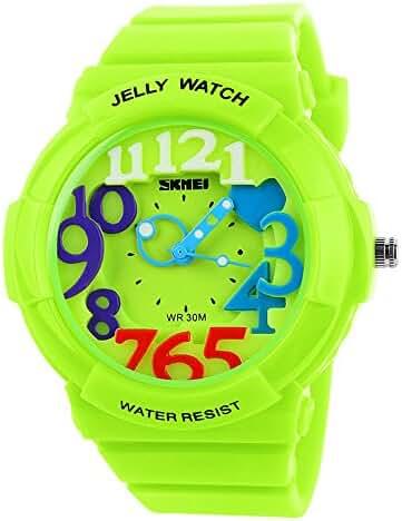 Children's Students Fashion Waterproof Jelly Quartz Sports Watches Green