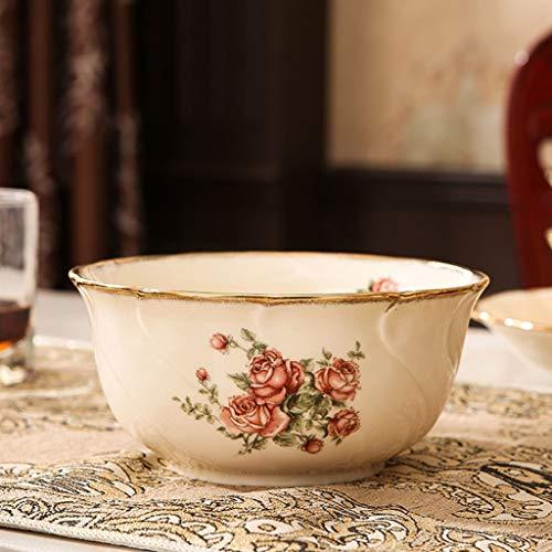 Rice Rose Bowl - Exquisite Contour Hand-painted Phnom Penh Rose High-end Cutlery Soup Bowl Home Rice Bowl Salad Bowl Decorative Bowl (Size : L)