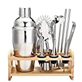 Image of 13 Piece Cocktail Shaker Home Bar Set Bartender Kit by Godmorn ,18 oz Stainless Steel Martini Shaker with Wooden Stand ,Double Jigger ,Mixing Spoon ,3 Liquor Pourers ,Bonus 20 Cocktail Recipes Booklet