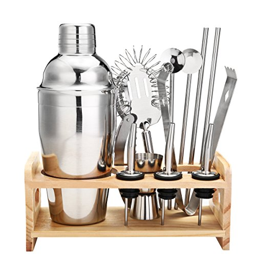 13 Piece Cocktail Shaker Home Bar Set Bartender Kit by Godmorn ,18 oz Stainless Steel Martini Shaker with Wooden Stand ,Double Jigger ,Mixing Spoon ,3 Liquor Pourers ,Bonus 20 Cocktail - Glasses Bar Names