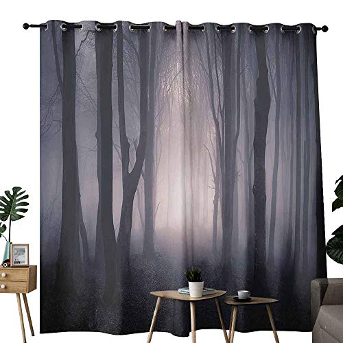 Farm House Decor Wedding Party Home Window Decoration Path Through Dark Deep in Forest with Fog Halloween Creepy Twisted Branches Picture Noise Reduction soundproof Curtain W96 xL84 Pink and Brown -